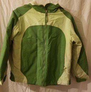 LL Bean Hooded Jacket Green Kids Size (8) fleece l